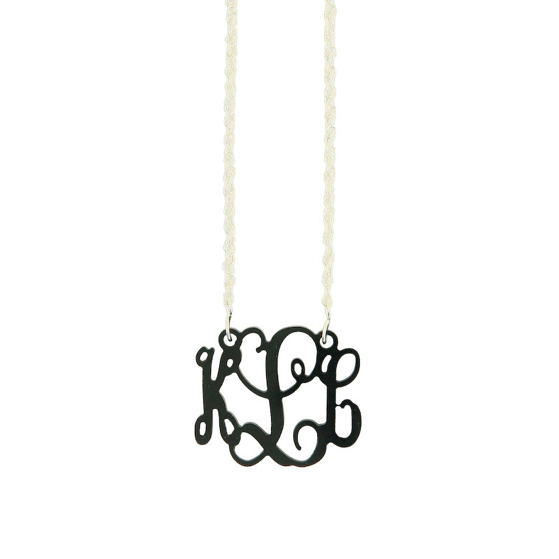 Small Acrylic Interlocking Monogram with chain