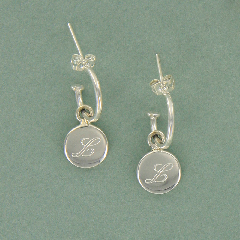 Sterling Silver Hoop Earrings with Round Charm